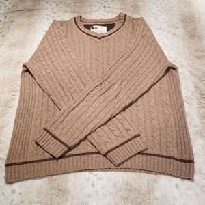 GAP Men's VNeck Heavy Weight Light Brown Sweater
